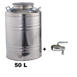 Fut avec robinet pour la conservation d'huile d'olive 50 L - Citerne Inox 18/10
