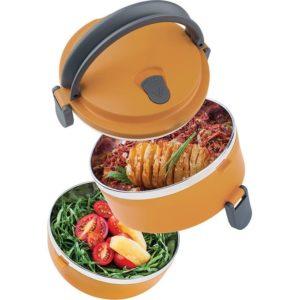 Baya Boite Repas - Lunch Box - 2 Niveaux - Isotherme - 1.4 Litre - En Inox – Orangé