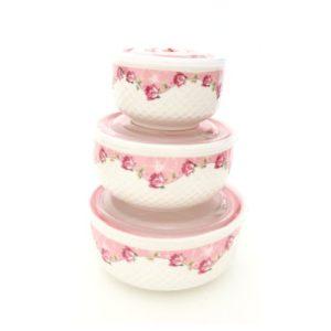 Lot de 3 Boîte En Céramique Micro-ondes / Réfrigérateur Avec Couvercle - fleuri