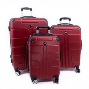 Herwex Set de trois valises ABS rouge bordeaux herwex