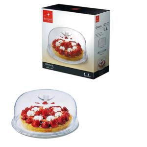 Bormioli Rocco Plat à gâteau - Verre - Transparent + Cloche - 28 cm