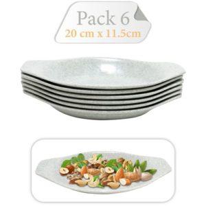 Baya Pack De 6 Assiettes - Dessert - Ovales - En Mélamine - Gris