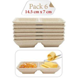 Baya Pack De 6 Bol - Deux compartiment - Multi-usage - En Mélamine - Beige