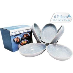 Baya Série De 6 assiettes - Ovale - 16.5x13 cm- en Céramique - Bleu