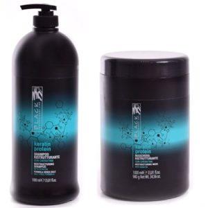 Black Pack Shampoing et Masque Kératine Protéine - Sans Sulfate - Prolongateur de Lissage - 1 Litre