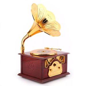 Boite à bijoux musicale phonographe antique